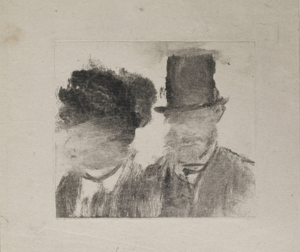 Edgar Degas,  Heads of a Woman and a Man , (1877-80)