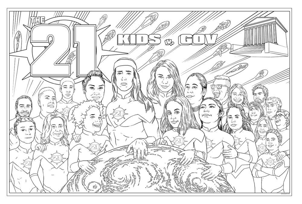 Our Juliana v. US youth plaintiffs as cartoon superheroes, from artist Gan Golan.