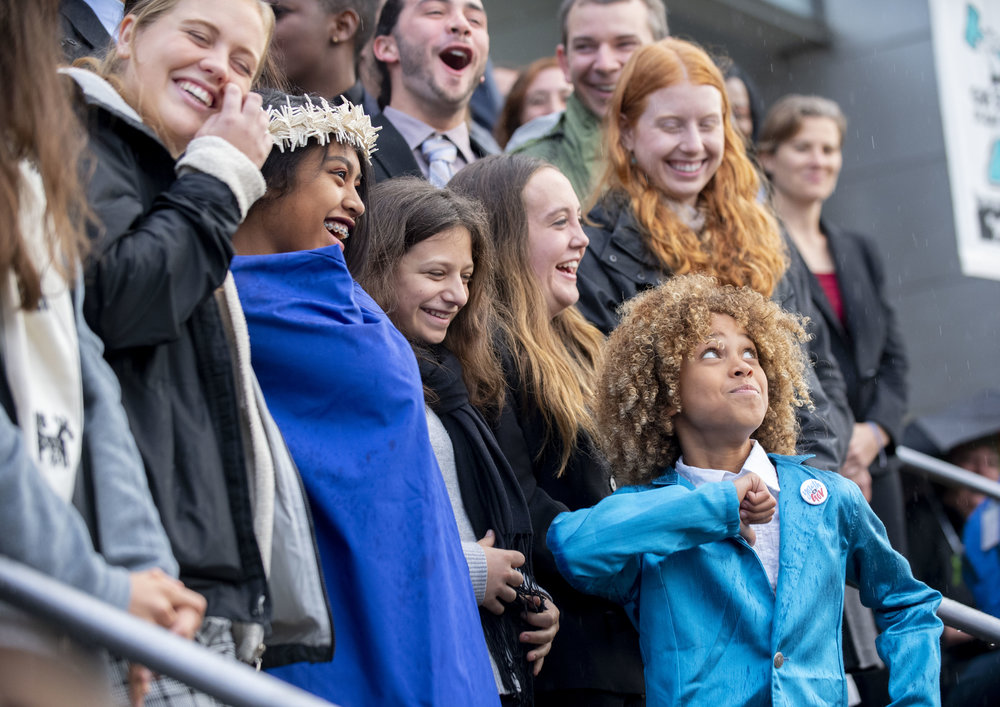 Juliana v. United States plaintiffs on the courthouse steps at the October 29, 2018 rally in Eugene, Oregon.