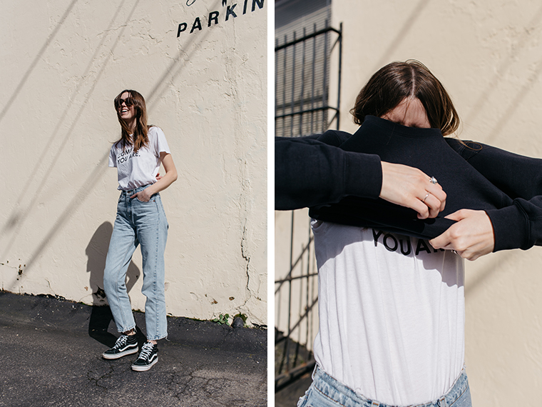 this last one is my favorite. sweatshirt from scotch & soda, sunnies from céline, tee from wildfang, levis from the portland flea market :) and sneaks...you know.