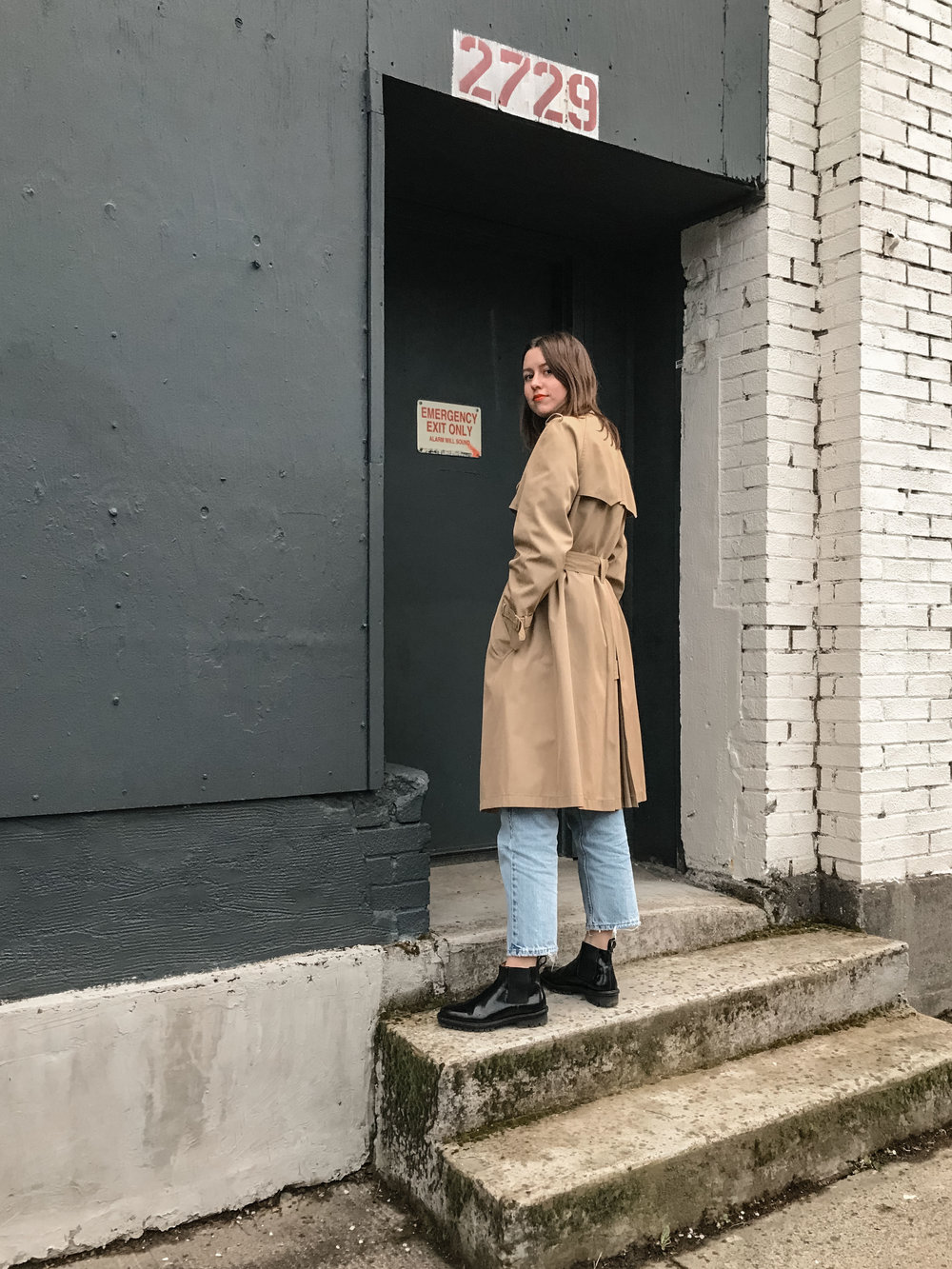 trench from goodwill, jeans = vintage levis, boots by creatures of comfort, lips from snow white