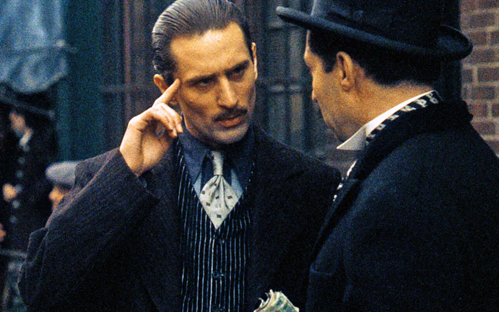 Robert De Niro as the younger Vito Corleone, who was previously portrayed by Marlon Brando. (Photo from IMDB)