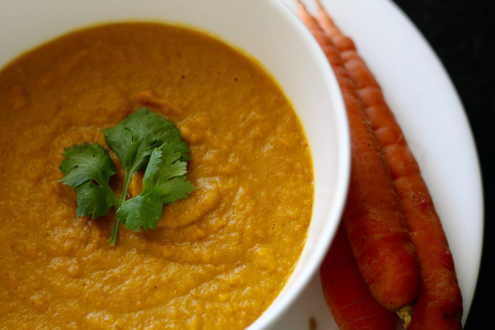 Roasted Carrot Lentil Soup -