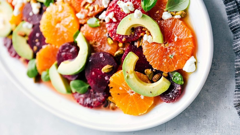 Roasted Beet, Avocado, Citrus Salad - by Chelsea at chelseasmessyapron.com