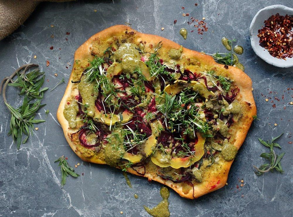 Vegan Spiralized Beet &Squash Pizza - by Yummy Mummy Kitchen