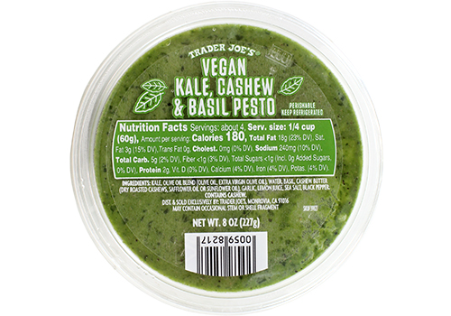Quick Dinner Tip: - Not enough time to whip up a homemade batch of pesto? Never fear - Trader Joe's sells a delicious Vegan Kale, Cashew & Basil Pestoin the refrigerator section. Feel free to sub this in.