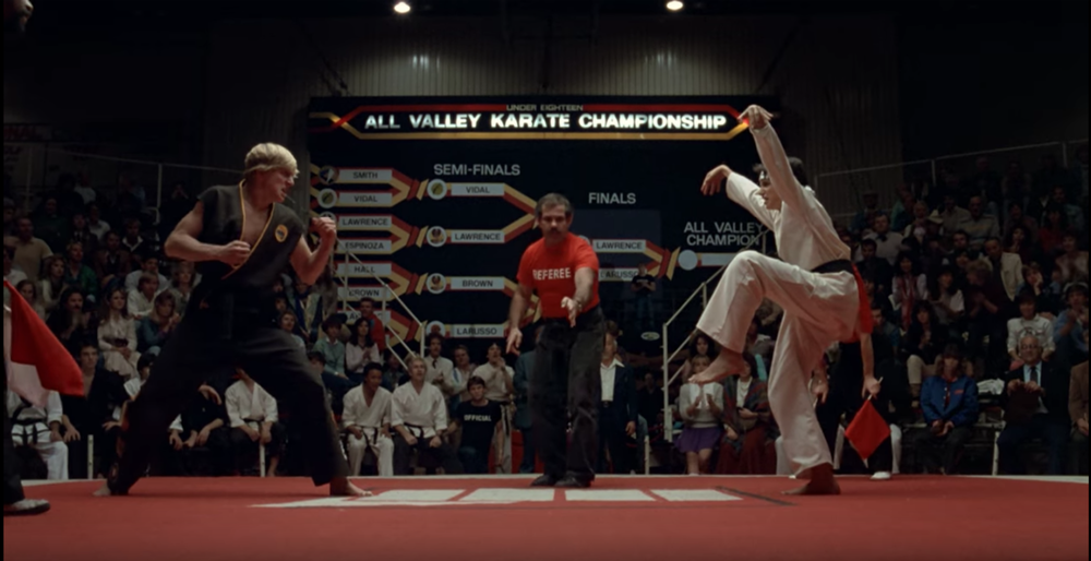 The moment (and eventual kick) that would plant the seeds for Cobra Kai