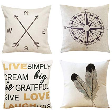 Cotton Linen Pillow Covers - These pillow covers are made from 100% cotton and linen. Sold in a set of four, these covers are an easy way to spice up your living room.