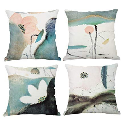 Set of 4 Cotton Linen Pillow Covers - These beautiful pillow covers come in three sizes featuring abstract designs that are perfect for spring. Use these covers in a bedroom or living space.