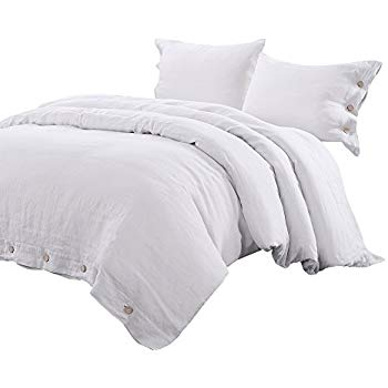 Coconut Buttons Linen Duvet Set - This duvet set is made from 100% linen, is eco-friendly, and features buttons created from pure coconut. Available in twin, full, queen and king sizes.