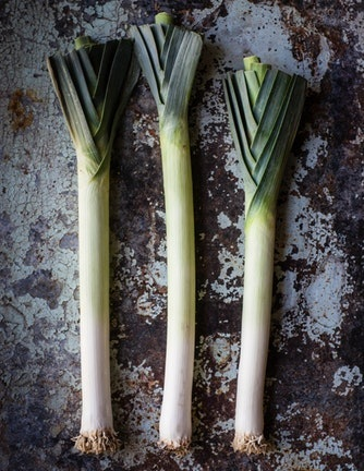 Cleaning Leeks: - Leeks are notoriously hard to clean and often have dirt and grit stuck between their layers. To effectively clean leeks, I slice off the root end and the inedible green part and then slice the whole leek lengthwise and submerge in a bowl of water. This removes the grit in the layers and results in a nice clean leek.