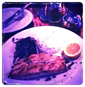 Grilled Salmon, Rice, Red Cabbage Slaw