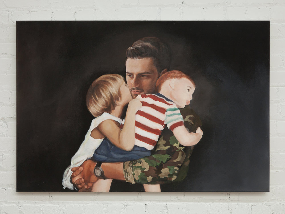 "Aspire and Inspire: A Custom Painting of You As a Soldier Returning Home to Your Kids    32""x 48""    acrylic on canvas    2017"