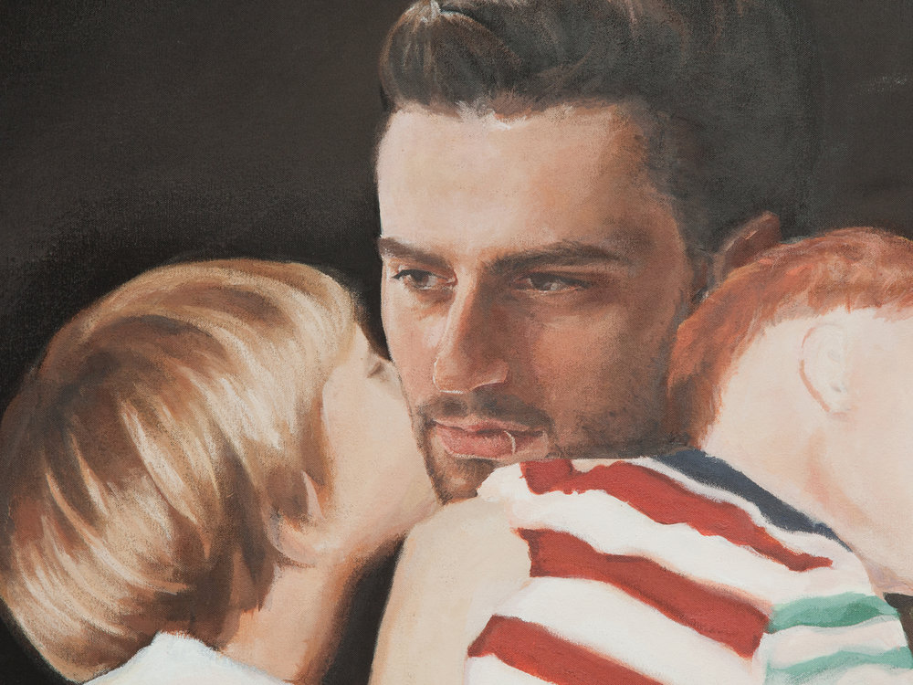 detail of  Aspire and Inspire: A Custom Painting of You As A Soldier Returning Home to Your Kids
