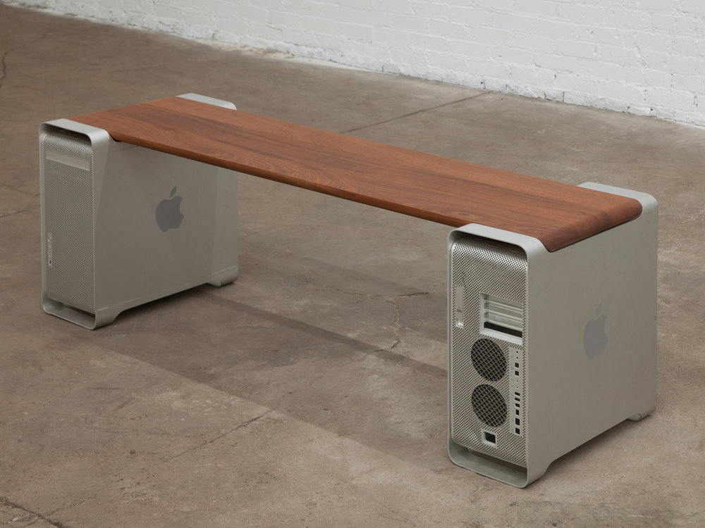 """Aged Aluminum Bench (Gallium Soaked) Seated Innovation   20""""x 19""""x 60""""  walnut inlayed in g5 mac towers  2017"""