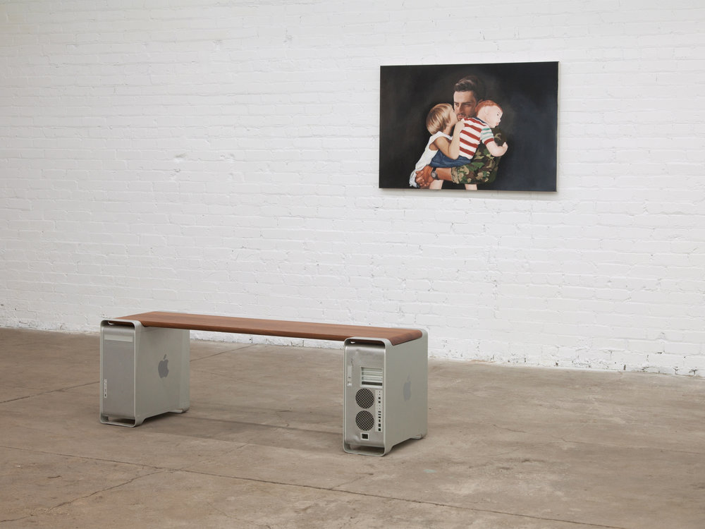 Installation view of  Aged Aluminum Bench (Gallium Soaked) Seated Innovation