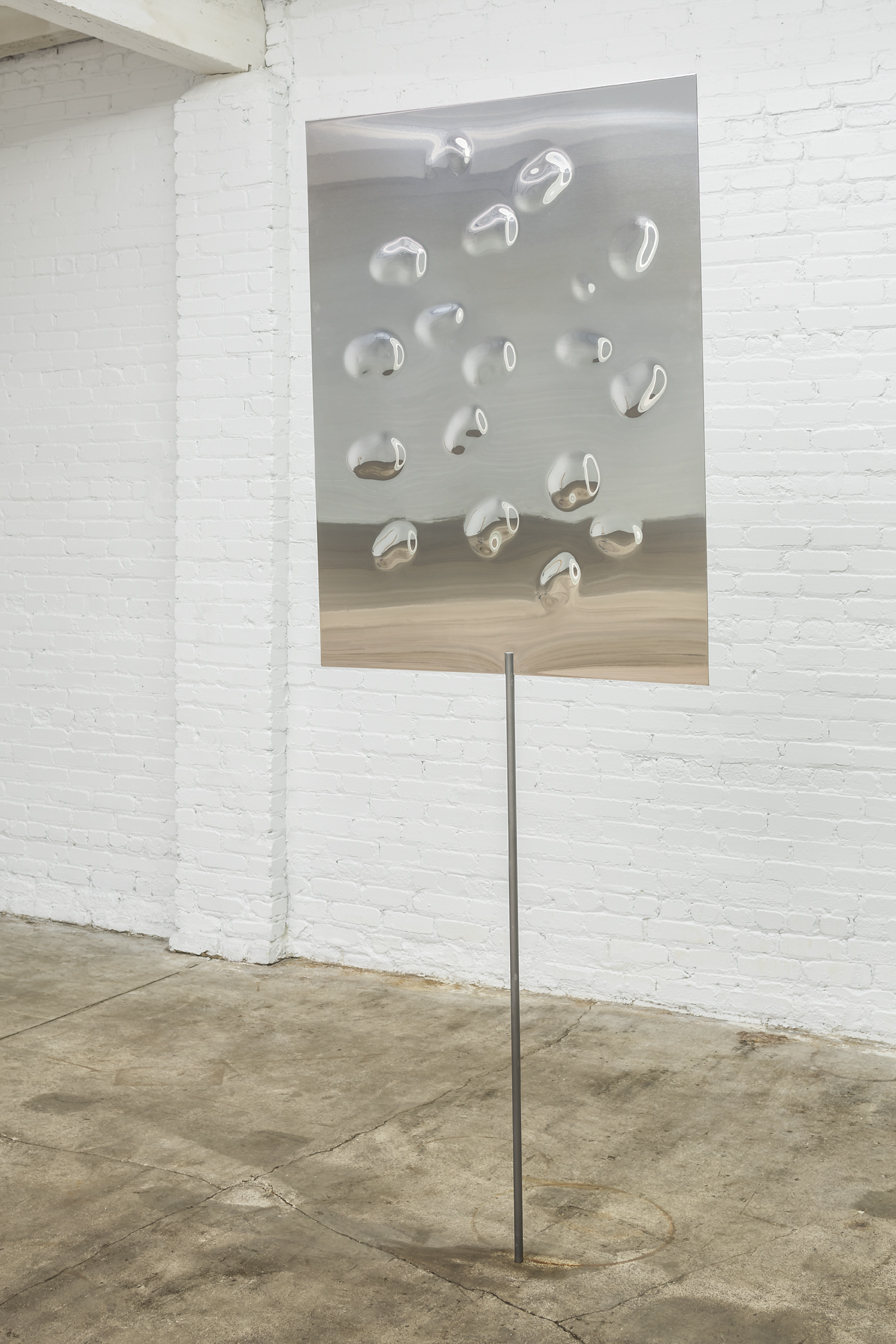 "Egan Frantz   Let us consider the art of pairing...and persuasion   mirrored aluminum composite, acrylic coated steel and hardware  36"" x 48"" x 51""  2012"