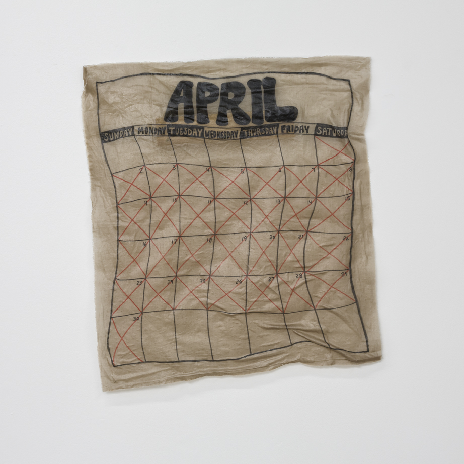 "April  fabric, adhesive 27"" X 29"" 2017"