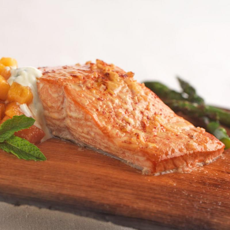 Planked Tandoori Wild BC Salmon with Fresh Peach Chutney and Minted Yogurt Sauce.jpg