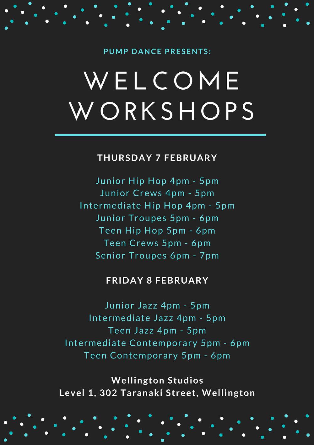 Pump Dance Wellington Welcome Workshops 2019