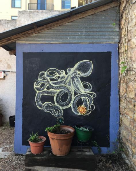 Chalk art drawn for Freedmen's Barbeque Kraken Rum dinner event