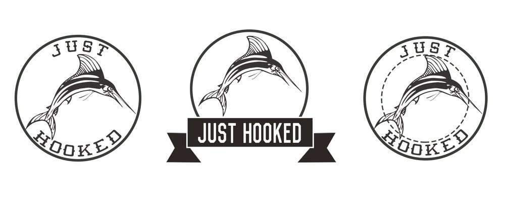 Commissioned stickers for fishing apparel line Just Hooked