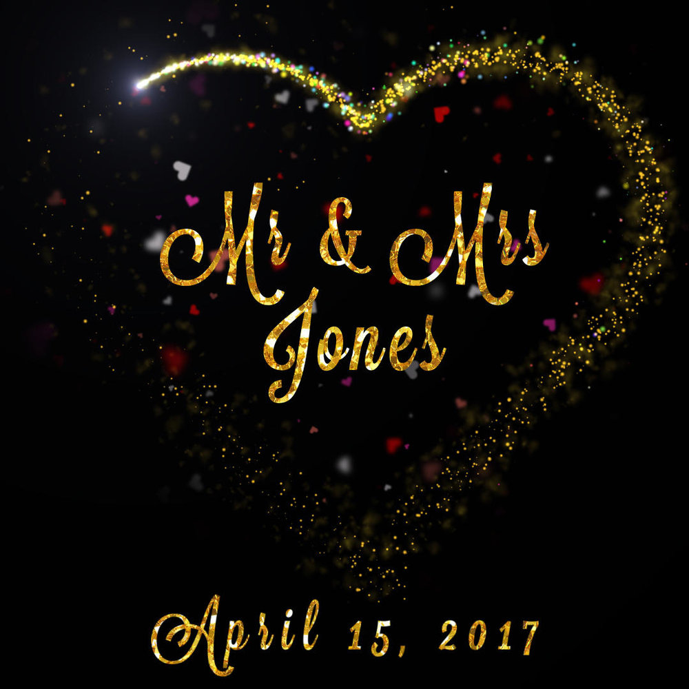 Sparkle Mr & Mrs Heart - With Gold and Silver options, this personalised animation sparkles around a heart trim with your Mr & Mrs nameContact us to see a preview video