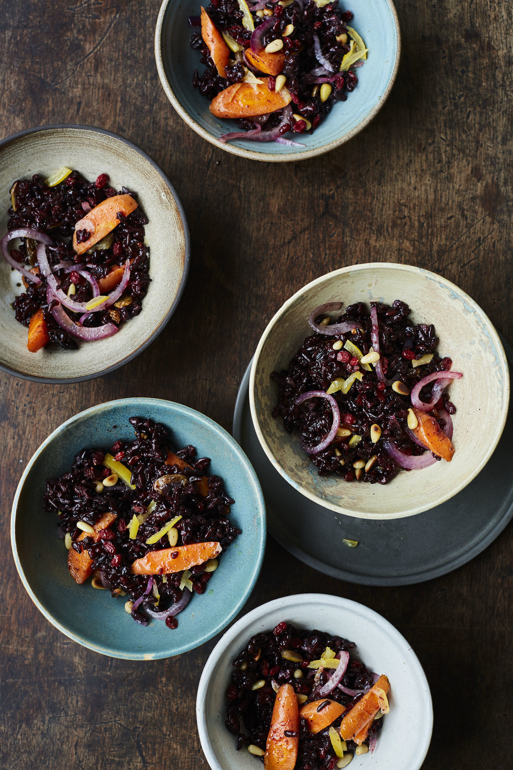 black rice salad   Black rice is highly anti-oxidant and deliciously rich and nutty. This salad combines gut friendly resistant starch with colourful anti-inflammatory veg.  Photo © Laura Edwards