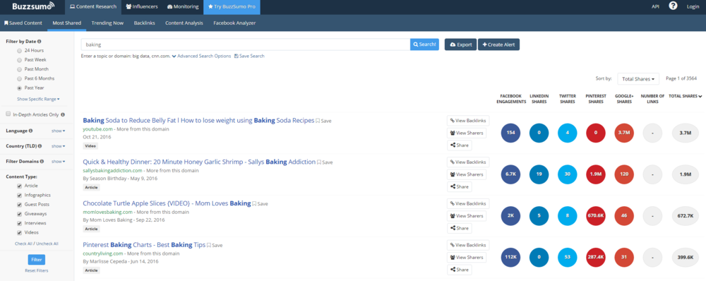 You can also search by domain to see top shared content from a specific website.