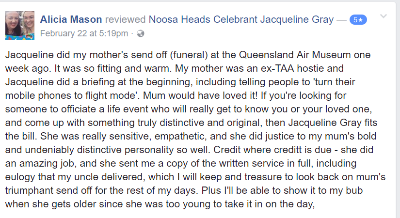 Funeral Celebrant Sunshine Coast