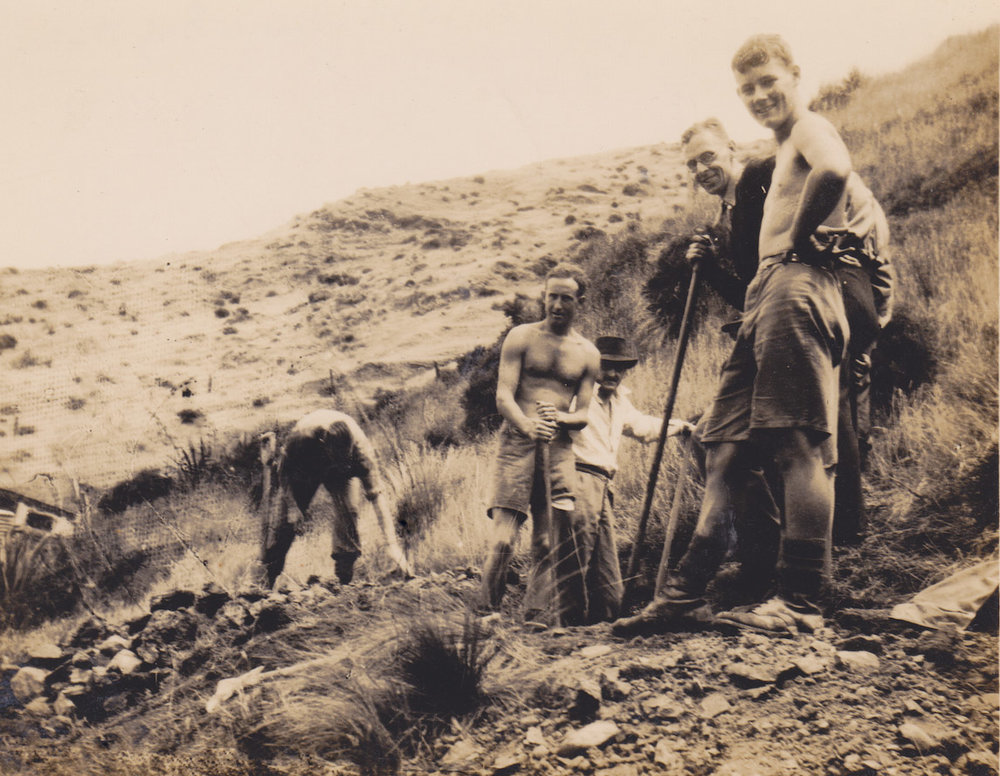 Members of No. 10 Platoon, Makara Battalion, New Zealand Home Guard, hard at work digging defensive positions at Ohariu Bay -  Photo from History Geek