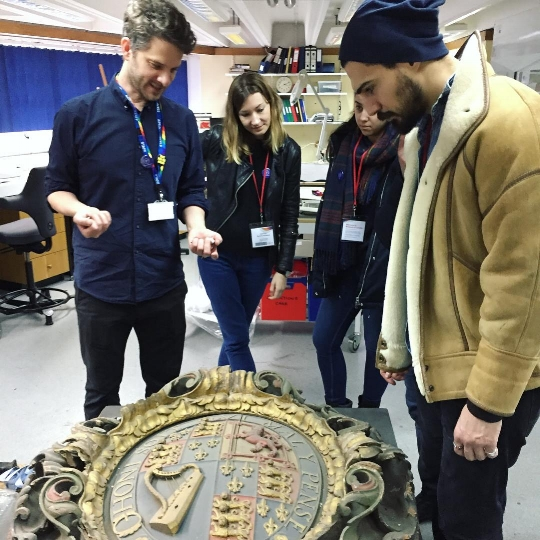 Andy explains the preservation process of this ornate 18th century wooden sign.