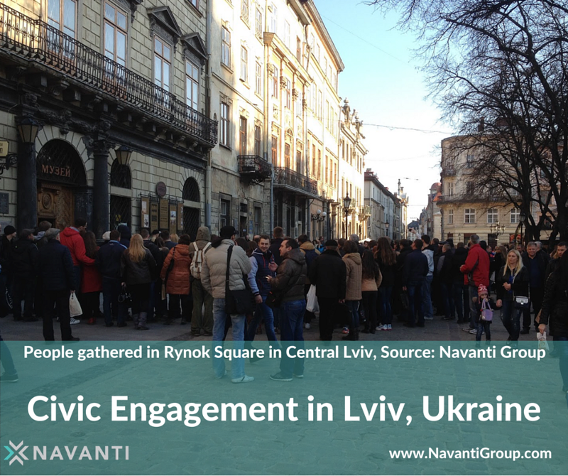 People Gathered in Rynok Square in Central Lviv