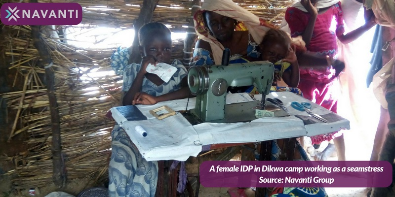 A Woman in Dikwa Camp Working as a Seamstress