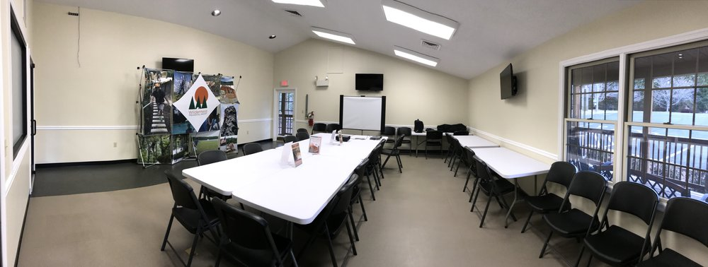 EVENT ROOM (AT WILDERNESS ACTIVITY CENTER)   Ideal for groups up to 30 people. This indoor event space is perfect for birthday parties at the Adventure Park, meetings, and other gatherings. Includes 8 six-foot tables and 30 folding chairs. No A/V equipment is provided.