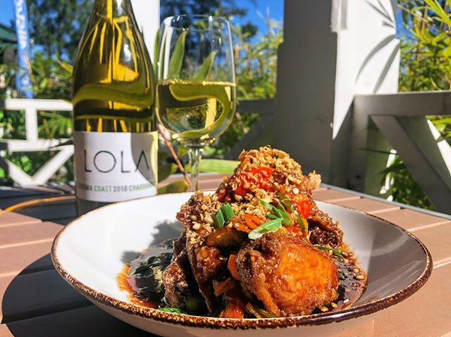 Come mourn yesterday's loss with our General Tso's wings and a glass of our new Chardonnay from @lolawines . . . #bacdup #covlove #covingtonla #northshoreeats #followyournola #lolawines #chardonnay #wings #mondays #eaternola #nolaeats #wherenolaeats #eatlocal