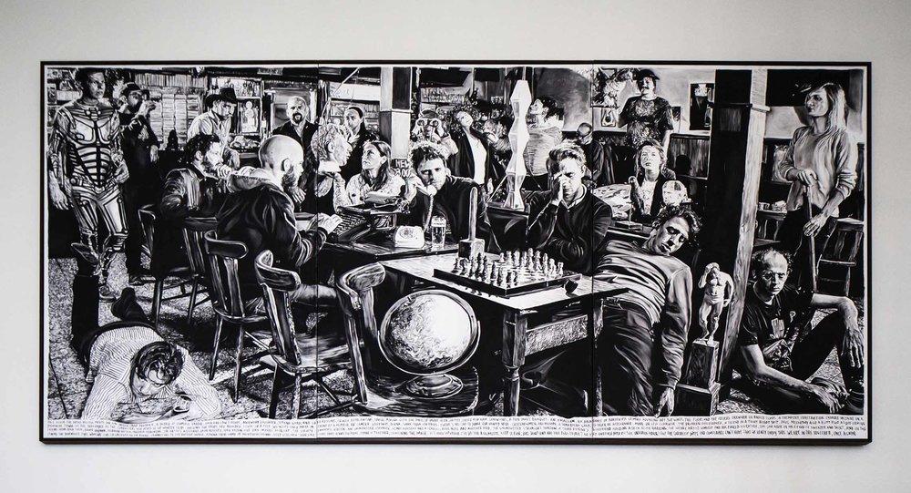 Rinus Van de Velde - Once Again the Artist Militia Meets in an Unruly Group Portrait,... (beeld: Kristof Vrancken)