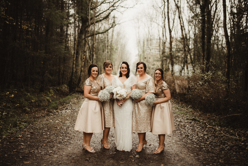 Joanne and her gorgeous gals, she could not have picked a nicer colour for her bridesmaids for the time of year in Oct.  It was around Halloween time, and Tomasz Kornas captured the images perfectly taken in Castlecomer Discovery park.