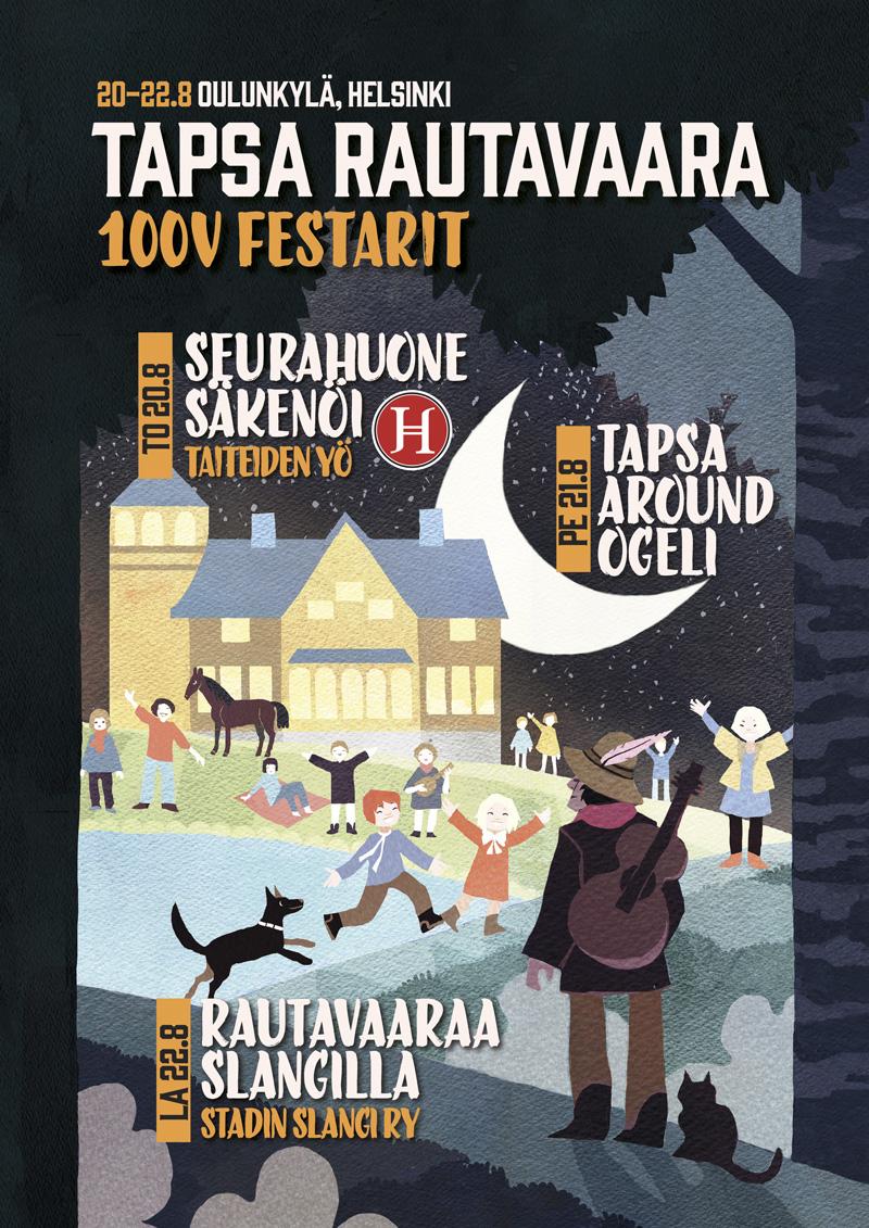 """""""Tapsa Rautavaara 100v festarit"""" julisteen kuvitus ja graafinen suunnittelu"""