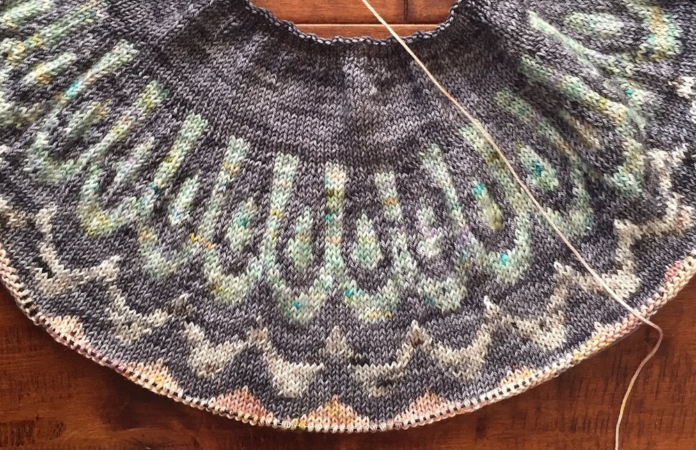 Taken a few days ago, when I'd just finished the colorwork section of the yoke.