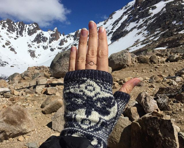 Staying cozy in my handknit mitts in Patagonia 🙌🦋