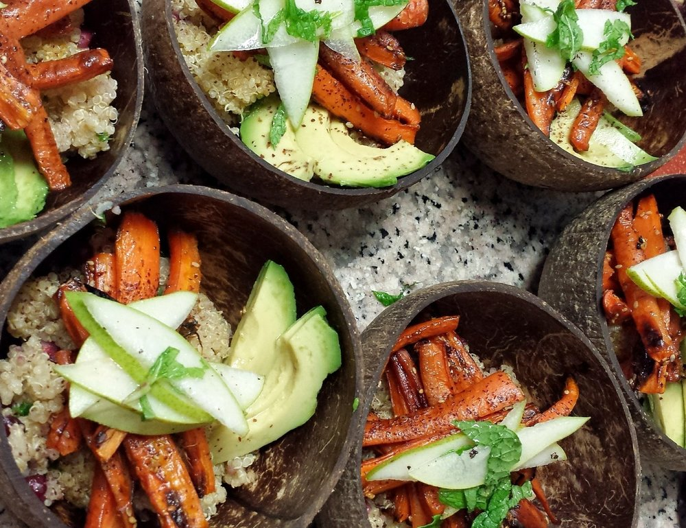 Quinoa, roasted carrots, avocado, granny smith apples - I made this for the group.