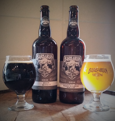 Barbarian Noir (right) and Barbarian Saison. image sourced from Barbarian Brewing