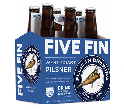 image of Gold medal winning Five Fin West Coast Pilsner courtesy Pelican Brewing
