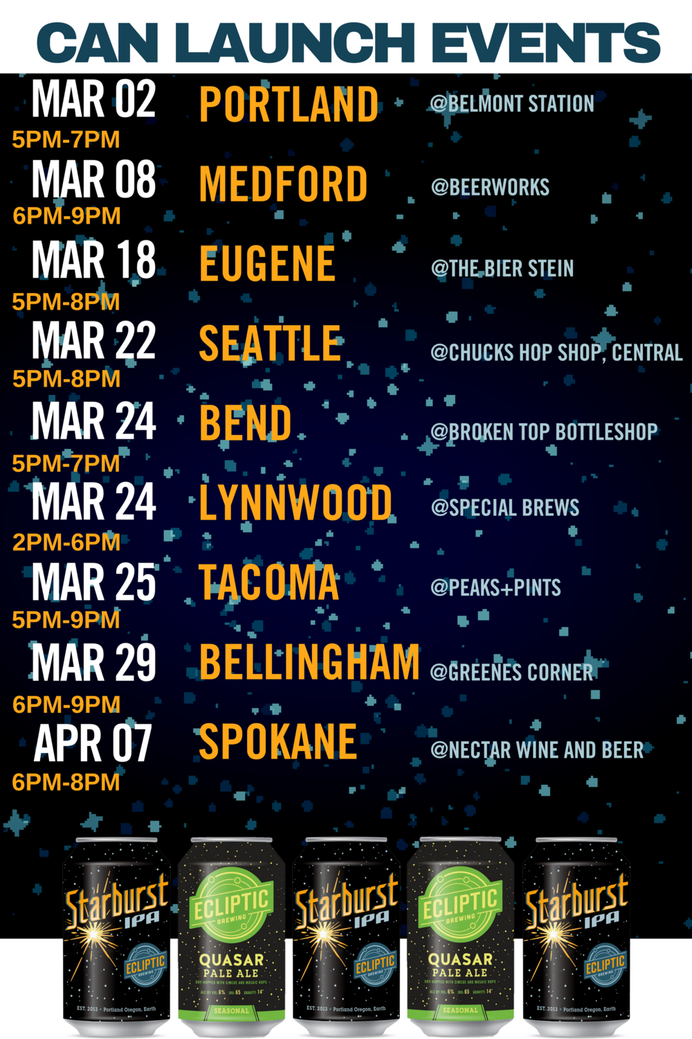 image courtesy Ecliptic Brewing. Click image for more dates and locations