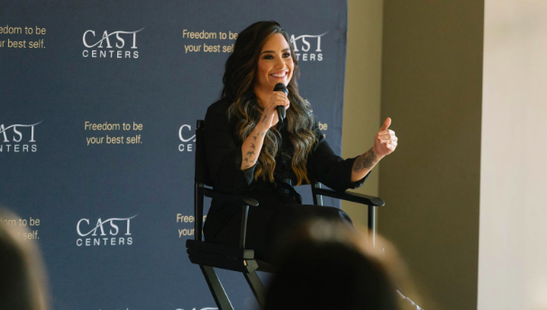 Demi Lovato speaks at CAST on Tour.