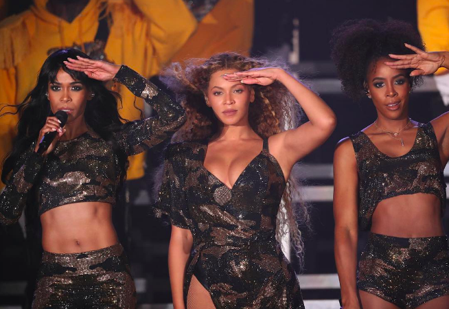Beyonce, Kelly, and Michelle reunite as Destiny's Child on the Coachella Stage for Weekend 1.