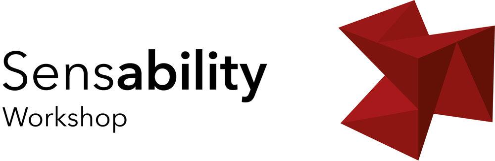 """Themen-Logo Workshop: Schrift """"Sensability Workshop"""" mit Würfel in der Farbe Rot"""