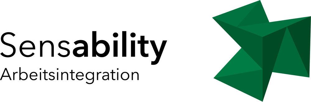 """Themen-Logo Arbeitsintegration: Schrift """"Sensability Arbeitsintegration"""" mit Würfel in der Farbe Grün"""