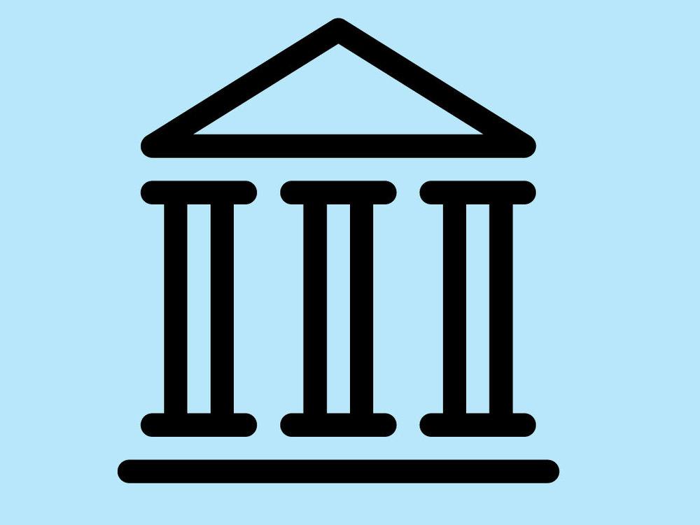 Piktogramm Verwaltung: Dach auf drei Säulen